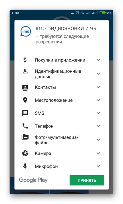 Разрешения к пользовательской информации