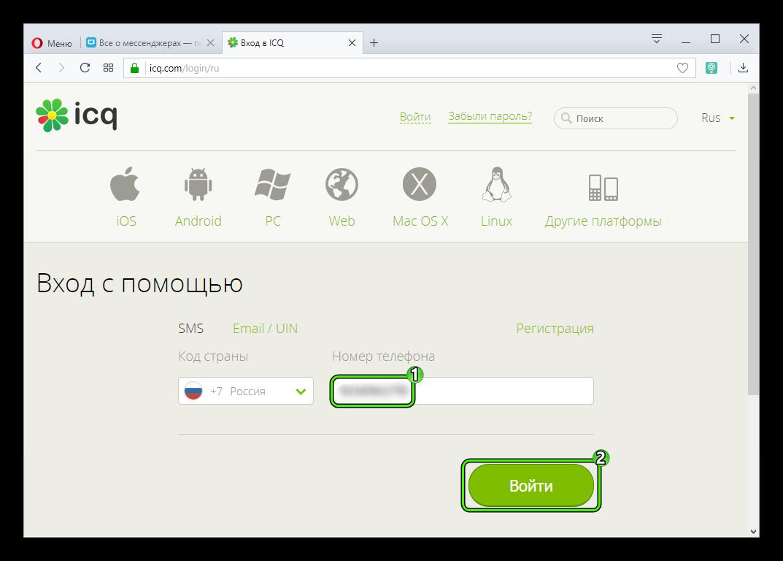 Начало удаления аккаунта на сайте ICQ